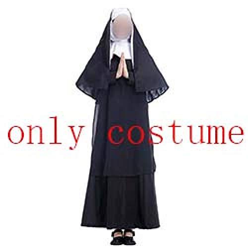 GBYAY 2019 Disfraz Máscara Cosplay Adulto Largo Negro Monjas asustadizas Fantasma Ropa Uniforme Horror Halloween Party Costume Props