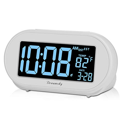 DreamSky Auto Time Set Alarm Clock with Snooze and Dimmer, Charging Station/Phone Charger with Dual USB Port.Auto DST Setting, 4 Time Zone Optional, Battery Backup.