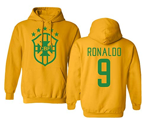 Spark Apparel Soccer Legends #9 Ronaldo Jersey Style Boys Girls Youth Hooded Sweatshirt (Gold, Youth Large)