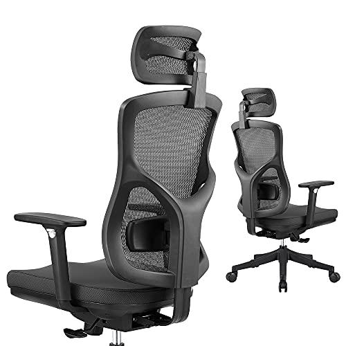 Home Office Ergonomic Chair, High Back Mesh Chair with Adjustable Lumbar Pillow, Adjustable Headrest & 3D Armrest, 135° Reclining Computer Mesh Chair with PU Wheels, Black