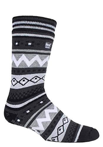 HEAT HOLDERS - Hombre invierno caliente gruesos termicos calcetines antideslizantes estar por casa (39/45, Black/Charcoal (Soul))