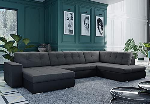 Bestmobilier - Wess - Canapé d'angle panoramique en U - Convertible avec Coffre - 7 Places - Style Contemporain - Droit