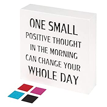 KAUZA Positive Thought Office Decor Inspirational Wall Art Plaques with Sayings Motivational Gifts 5.5 x 5.5 Inch …  White