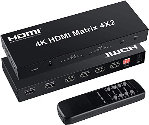 FERRISA 4x2 HDMI Matrix Switch,4 in 2 Out Matrix HDMI Video Switcher Splitter +Optical & L/R Audio Output,Support Ultra HD 4K x 2K,3D 1080P,Audio EDID Extractor with IR Remote Control & Power Adapter
