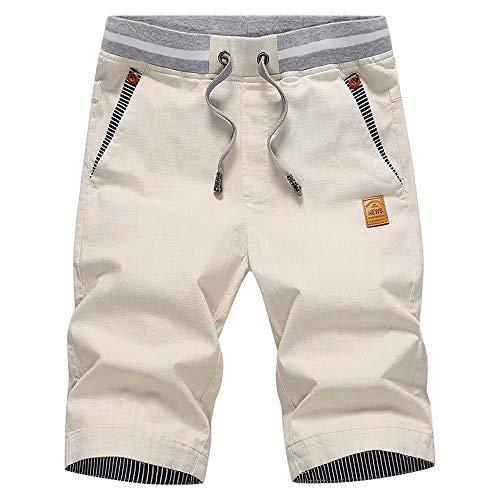 Tansozer Men's Shorts Casual Classic Fit Drawstring Summer Beach Shorts with Elastic Waist and Pockets (Light Khaki, Large)