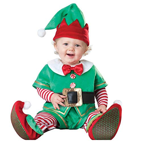 Outfit Natale Set Bambino Vestiti di Natale Ragazzi Ragazze (1-6Y) L'elfo di Babbo Natale esegue Un Costume da Pupazzo di Neve Alce in Un Pezzo dell'albero di Natale,Christmas Costume Pajama