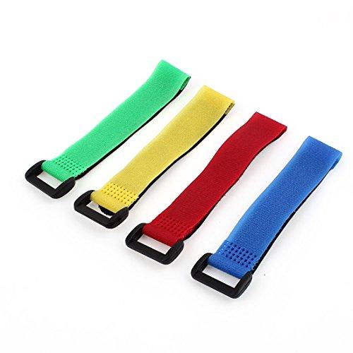 Sourcing map 4pcs LiPo couleurs assorties Ruban Fastener magique autocollant Bracelet