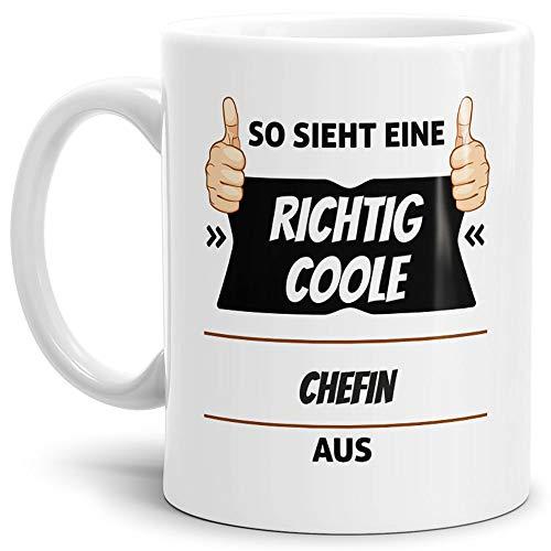 Tassendruck Berufe-Tasse so Sieht Eine Richtig Coole Chefin aus Weiss/Job/mit Spruch/Kollegen/Arbeit/Geschenk-Idee/Büro