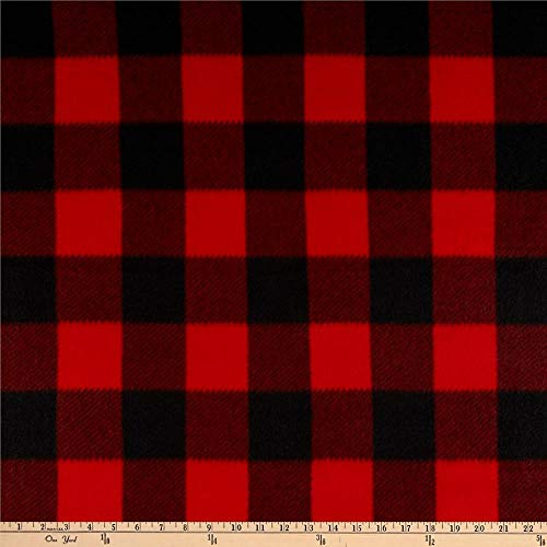 Newcastle Fabrics Polar Fleece Kara Check Black/Red Fabric by the Yard