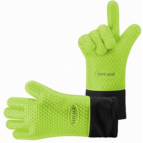 VOYAGE Premium Ofenhandschuhe (2er Set) bis zu 350 °C - Silikon Extrem Hitzebeständige Grillhandschuhe BBQ Handschuhe zum Backen, Barbecue, Extra lange Topfhandschuhe für extreme Sicherheit (Grüne)