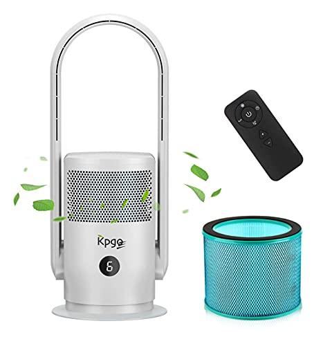 Ventilador de mesa Kpgo con purificador de aire, ventilador de columna sin aspas de oscilación con filtro HEPA, aplicación y control remoto, silencioso y potente, blanco