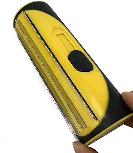 Tierhaar-Entferner-Rolle, Hundebürste & Katzenbürste | Massageffekt & Deckhaarschutz | - Bürste zur Vorbeugung von Knoten und verfilzten Haaren (Color : Yellow)