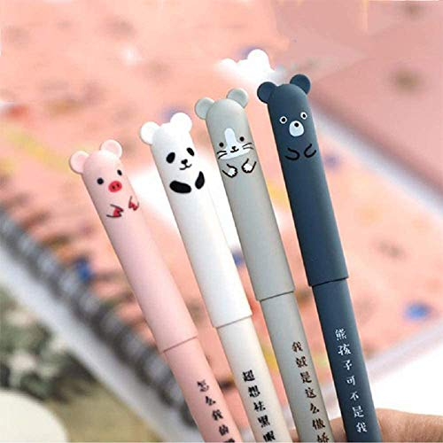 8pcs Erasable Cute Kawaii Pens Cartoon Animal Cat Pig Bear Panda Erasable Gel Pen Student Pens Ballpoint Pens For Bullet Journaling Note Kids Gift School Stationery Office Supplies (Black Ink)