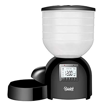Qpets Automatic Dog Feeder Auto Cat Feeder Pet Food Dispenser Timed,Features: 10 lb,Portion Control,Voice Recorder,Programmable Timer for up to 4 Meals per Day