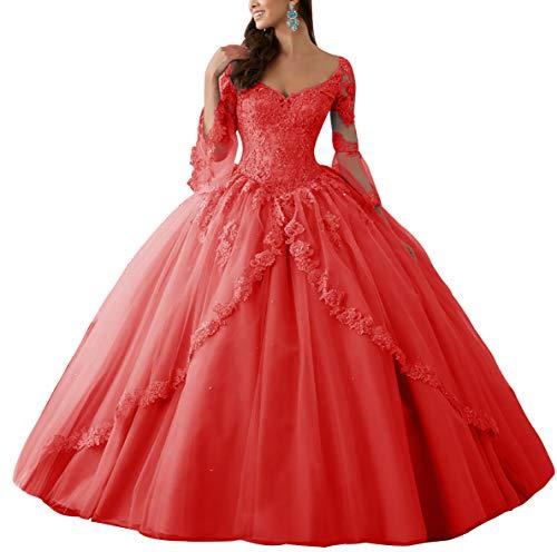 HUINI Ballkleider Lang Spitze Brautkleider Langarm Quinceanera Kleider Prinzessin V-Ausschnitt Hochzeitskleider Rot 32