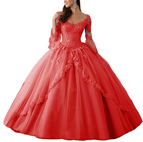 HUINI Ballkleider Lang Spitze Brautkleider Langarm Quinceanera Kleider Prinzessin V-Ausschnitt Hochzeitskleider Rot 46