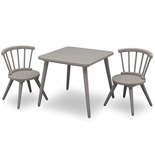 Delta Children Windsor Kids Wood Table Chair Set (2 Chairs Included) - Ideal for Arts & Crafts, Snack Time, Homeschooling, Homework & More, Grey