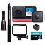 Insta360 ONE R Sport Action Video Camera Bundle: 4K Wide Angle Lens, 5.7K Dual-Lens, Bullet Time Accessory, Stabilization Waterproof Voice Control Touch Display, Mytrix 128GB U3 SD Card