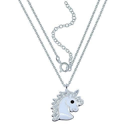 Katy Craig, collar de unicornio de plata de ley, con purpurina plateada
