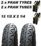 2 X Pneus Landau & 2x Tubes 12 1/2 X 2 1/4 Poussette Slick Jane Slalom Icandy