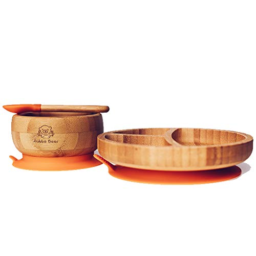 Bubba Bear  Baby Bamboo Suction Bowl, Plate & Spoon Set   Stay Put Toddler Led Feeding Bowls & Plates   Free Guide to Weaning