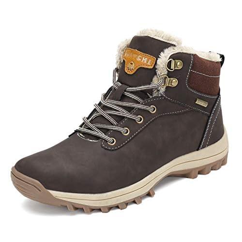 Pastaza Stivali da Neve Uomo Donna Trekking Scarpe Inverno Impermeabili Outdoor Pelliccia Sneakers Marrone,43EU