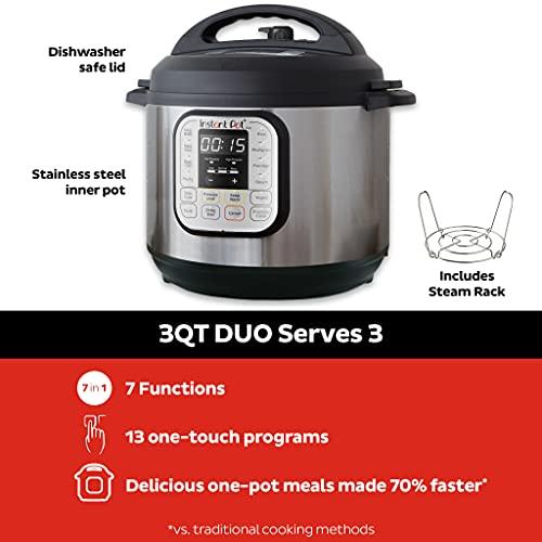 Instant Pot Duo Mini 3qt Cuisinière à pression programmable multi-usages 7-en-1, - 1