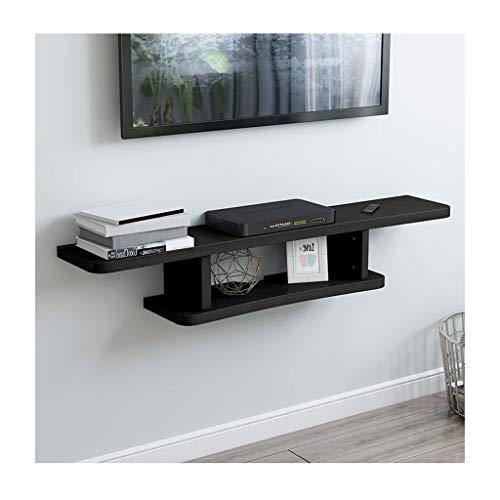 WXQIANG Estante de pared para televisión, montaje en la pared, con WiFi, organizador de almacenamiento de pared, duradero y protector (color: negro).