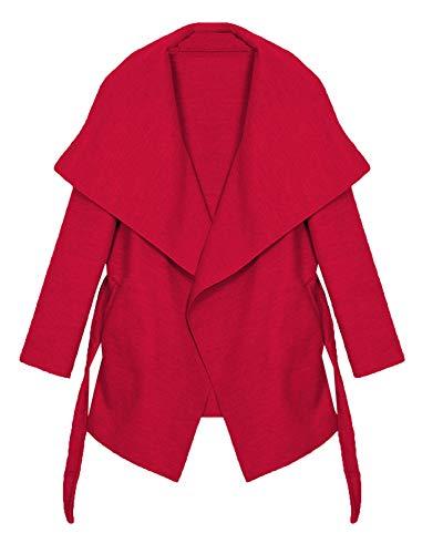 Kendindza Damen Mantel Trenchcoat mit Gürtel OneSize Lang und Kurz (One Size, Rot Kurz)