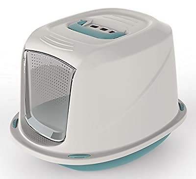 World of pets Cat Litter Box Tray with Door Flap Shuttle Easy Clean Lightweight Carry Handle