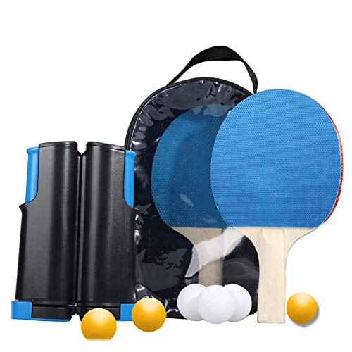 Great Features Of Zcbm Portable Ping Pong Rackets 2 Paddles 6 Balls Retractable Strong Mesh Long Han...