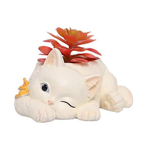 Macetas de Gato Lindo Animal en Forma Jardinera de Dibujos Animados, Florero suculento Macetas, Envase, Decoración hogareña Macetas Casa y Jardín