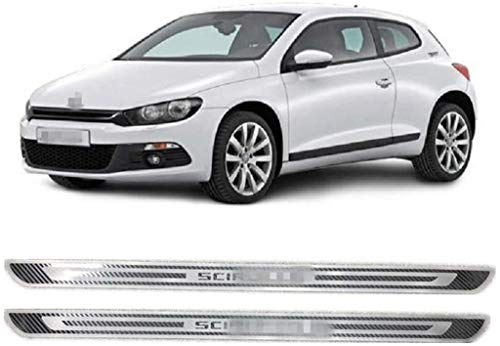 YCGLX 4 Piezas para Volkswagen VW Scirocco R MK3 2009-2018 Acero Inoxidable Coche Barra Puerta Umbral, Bienvenida Estilo Pedal Protección Pegatina Decorativos Accesorios