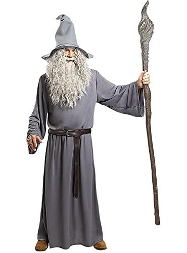 Funidelia | Disfraz de Gandalf - El Seor de los Anillos Oficial para Hombre Talla XL El Seor de los Anillos, Pelculas & Series, El Hobbit, Magos - Color: Gris / Plateado - Licencia: 100% Oficial