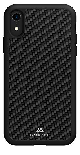 Black Rock - Robust Hülle Real Carbon Hülle für Apple iPhone Xr | Karbon Cover, Handyhülle, kabelloses Laden, Fiber, TPU, Silikon (Schwarz)