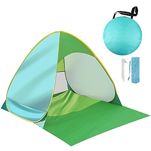 AILGOE Pop up Strandmuschel/Strandzelt Beach Zelt Tragbar Wurfzelt, UV Schutz 50+ für 1-3person mit Haus Verschiedene Arten Aktivitäten am Strand (Grün)