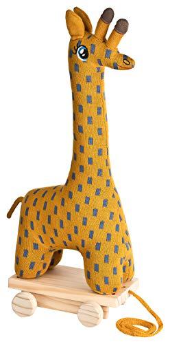 your castle Nachziehtier Nachziehspielzeug mit Rollbrett und Kuscheltier Giraffe, 39x16x9 cm, Spielzeug ab 12 Monaten