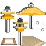 Maylne Set di 3 frese per fresatrice da 6,35 mm, con pannello rialzato rotondo per ante di armadietti, con codolo da 6,35 mm, giallo
