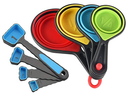 Collapsible Measuring Cups and Spoons Set- 8 Piece Portable Silicone Measuring Cups and Spoons,Markings for Liquid & Dry Measuring (blue)