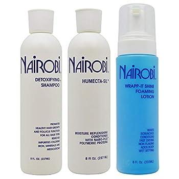 Nairobi 8 oz TRIO Bundle  Humecta-Sil Conditioner,Wrapp-It foaming lotion  Detoxifying Shampoo  by Nairobi