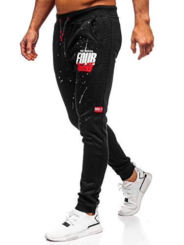 BOLF Herren Jogginghose Sporthose Trainingshose Jogger Sweathose Fitnesshose Jogpants Fußballhose Sweatpants Motiv Print Army Baumwolle Slim Fit J.Style AM033 Schwarz L [6F6]