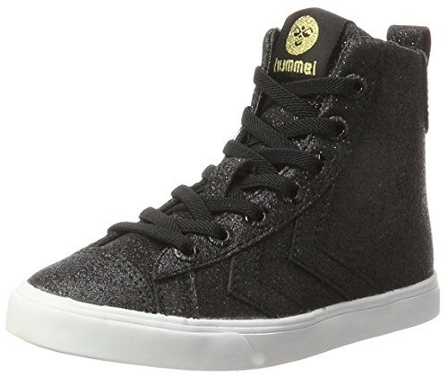 hummel Unisex-Kinder Strada Glitter JR Hohe Sneaker, Schwarz (Black), 34 EU
