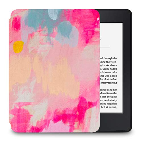 LuvCase Case for Kindle Paperwhite, Premium PU Leather Cover with Auto Wake/Sleep Fits All Paperwhite Generations Prior to 2018 (Will NOT fit All-New Paperwhite 10th Gen), Pink Mist 2