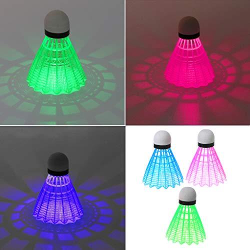 Museourstyty Federbälle, Badminton-LED-Badminton-Schläger, Kunststoff-Schaum, leuchtend, Federbälle, Kunststoff, dunkle Nacht, 3 Stück