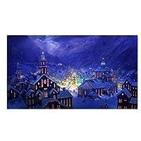 Suuyar 冬の屋外雪景色キャンバス絵画プリントポスタークリスマスシリーズリビングルームの写真の装飾のための壁の芸術-50X100Cmフレームなし
