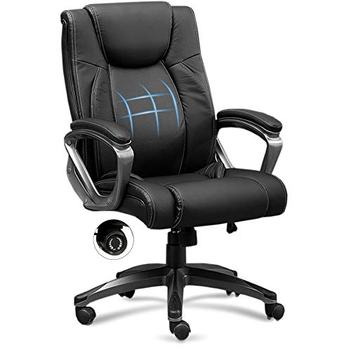 Office Chair, Ergonomic Leather Office Chair with Cushion Lumbar Support, Executive Office Chair High Back, Computer Chair Black, Seat Adjustable, Swivel Rolling, Black Bonded Leather