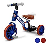 Tricycle 3 in 1 Balance Trike Beginner Training Bike for Toddlers and Kids of 12 to 36 Months with Removable Pedals and Adjustable Seat, Blue Color Bicycle by Haktoys