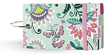 Vera Bradley 100 Count Lined Index Cards with Dividers Green Floral Study Buddy with Stickers and Metal Binder Ring Mint Flowers
