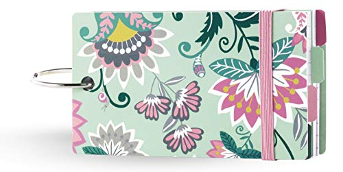 Vera Bradley 100 Count Lined Index Cards with Dividers, Green Floral Study Buddy with Stickers and Metal Binder Ring, Mint Flowers