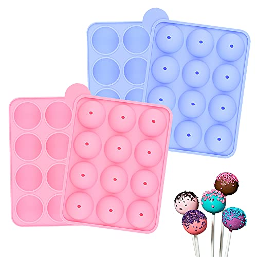 Silicone Lolly Pop Party Cupcake Baking Molds Cake Pop Sticks Mold Tray, Pack of 2 Cake Pop Molds (Pink + Blue)